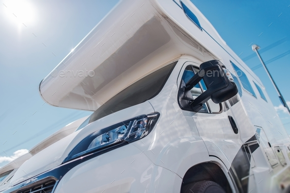 Modern Camper Van in Sun - Stock Photo - Images