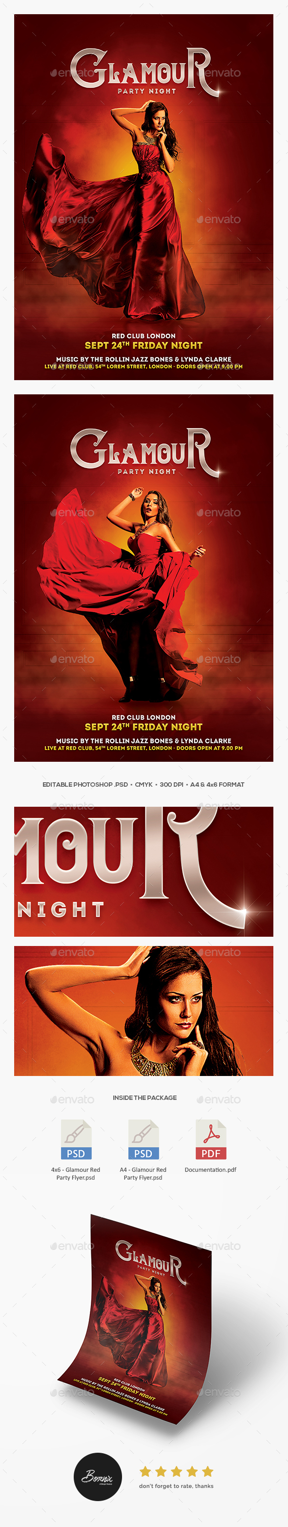 GraphicRiver Glamour Red Party Flyer 20592914