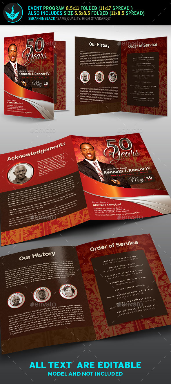 GraphicRiver Crimson plus Silver Pastor's Anniversary Church Program Template 20592943