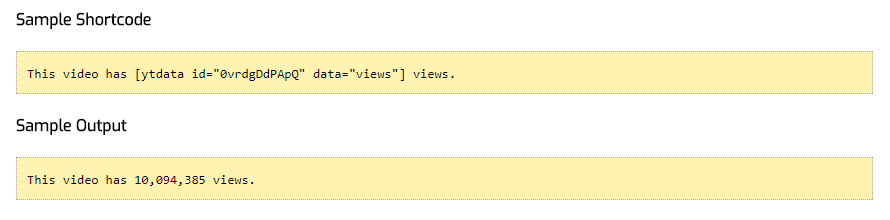YouTube Data API Shortcodes - Wordpress Plugin