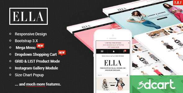 ELLA - Responsive 3dCart Template