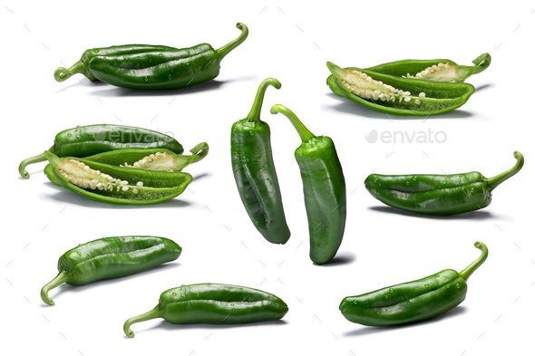 Set of whole and sliced Anaheim peppers, paths - Stock Photo - Images