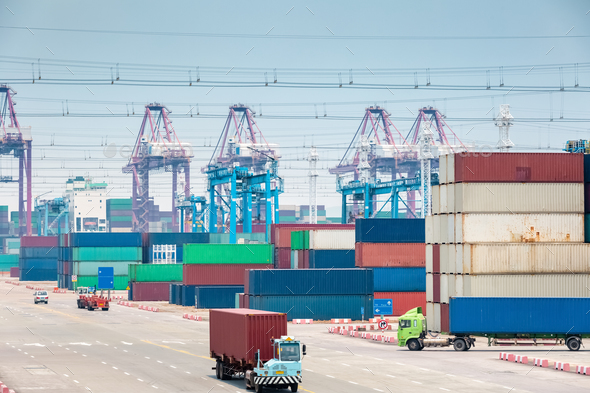 busy container stack yard closeup - Stock Photo - Images
