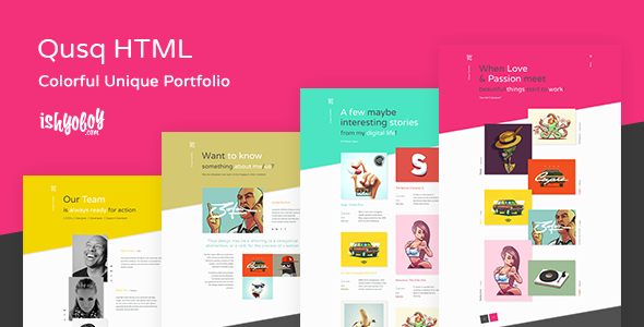 Qusq HTML - Colorful Unique Portfolio
