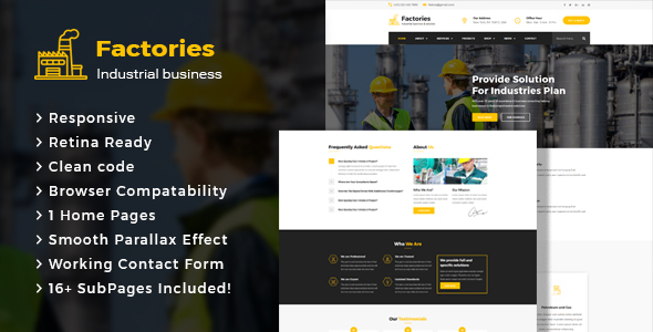 Factories - Industrial Business HTML Template - Business Corporate