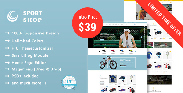 Sport Shop - Clothing, Shoes & Equipment Store Responsive Prestashop 1.7 Theme