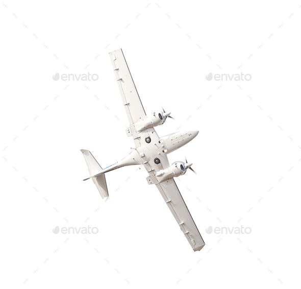 White airplane isolated on white background - Stock Photo - Images