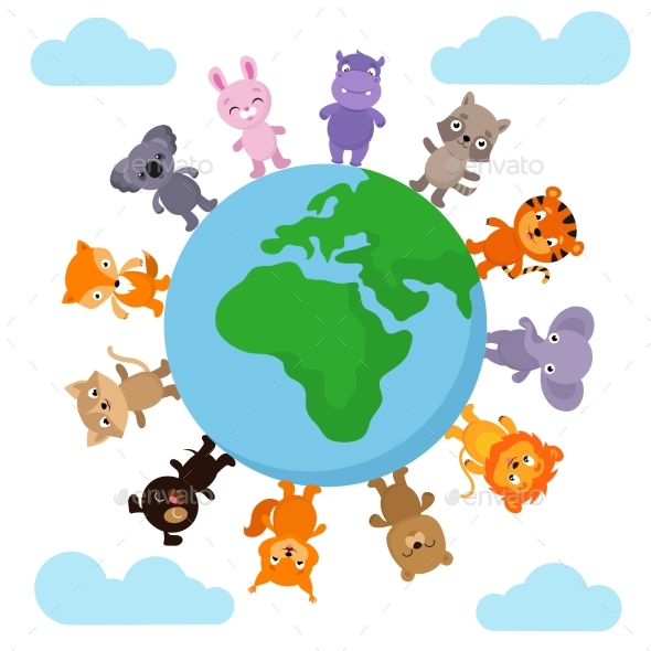Baby Animals Walking Around Earth - Miscellaneous Vectors