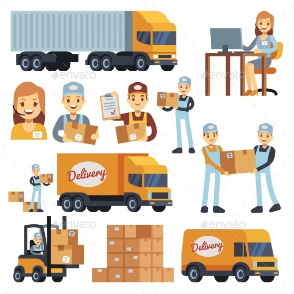 Warehouse Workers Cartoon Vector Characters - Objects Vectors