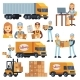 Warehouse Workers Cartoon Vector Characters