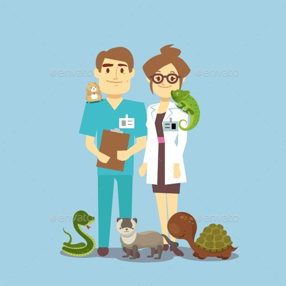 GraphicRiver Flat Veterinarian and Exotic Pets 20594153