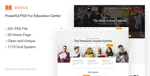 EDUCA | Multiconcept Education & Courses PSD Template - Business Corporate