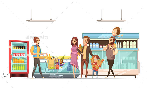 Fatherhood Shopping Retro Cartoon Poster - Food Objects