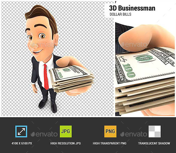 3D Businessman Holding a Stack of Dollar Bills - Characters 3D Renders