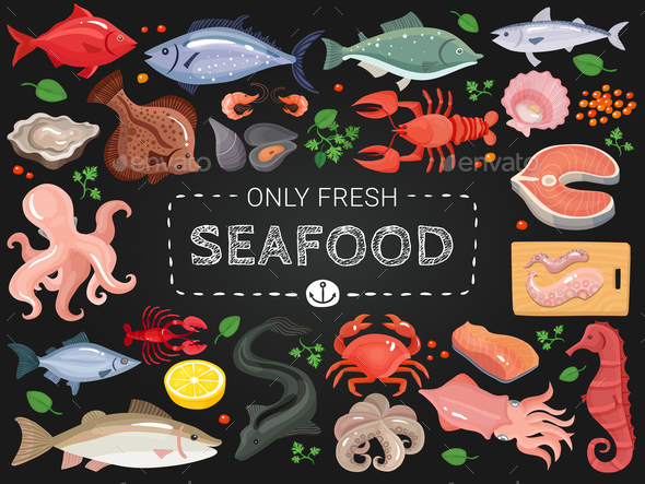 Seafood Colorful Chalkboard Menu Poster - Food Objects