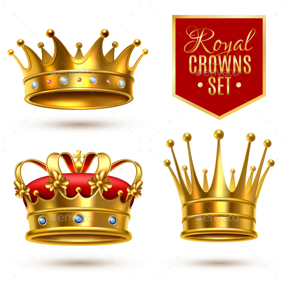 Realistic Royal Crown Icon Set - Miscellaneous Vectors