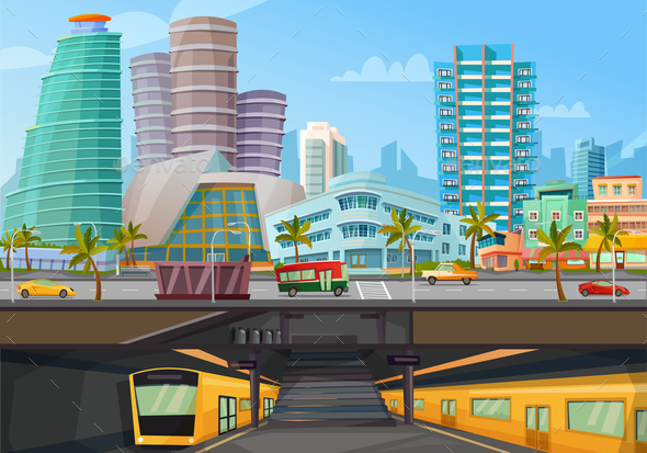 Miami Downtown Metro Rail Poster - Buildings Objects