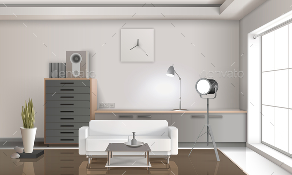 Realistic Lounge Interior 3D Design - Buildings Objects