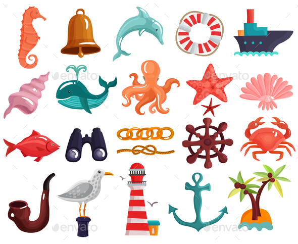 Nautical Elements And Sea Life Collection - Animals Characters