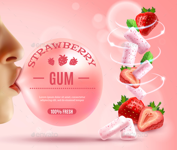 GraphicRiver Strawberry Bubble Gum Composition 20594382