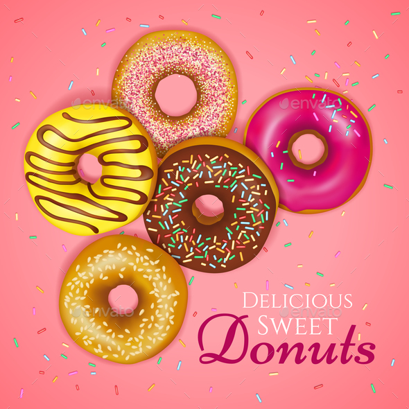 Realistic Donuts Illustration - Food Objects