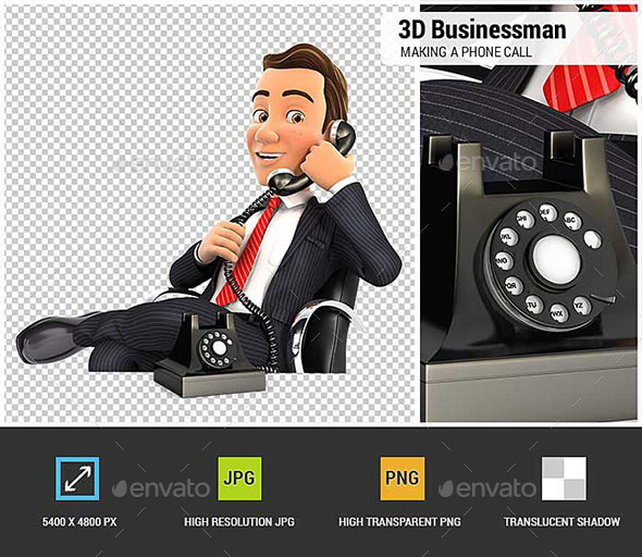 3D Businessman Making a Phone Call - Characters 3D Renders