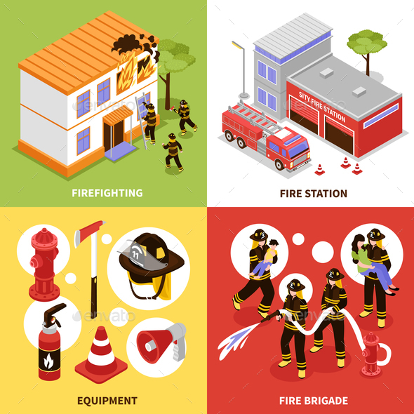 GraphicRiver Isometric Firefighter 2x2 Concept 20594428