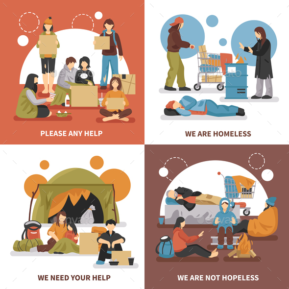Homeless People Design Concept - People Characters