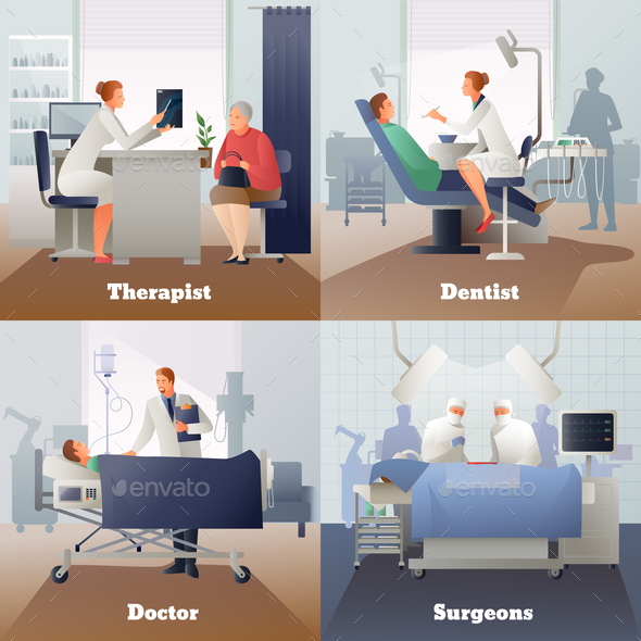 Doctor And Patient Gradient Compositions - People Characters