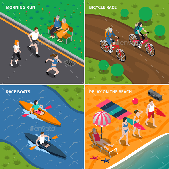 Summer Outdoor Activity People Icon Set - Sports/Activity Conceptual