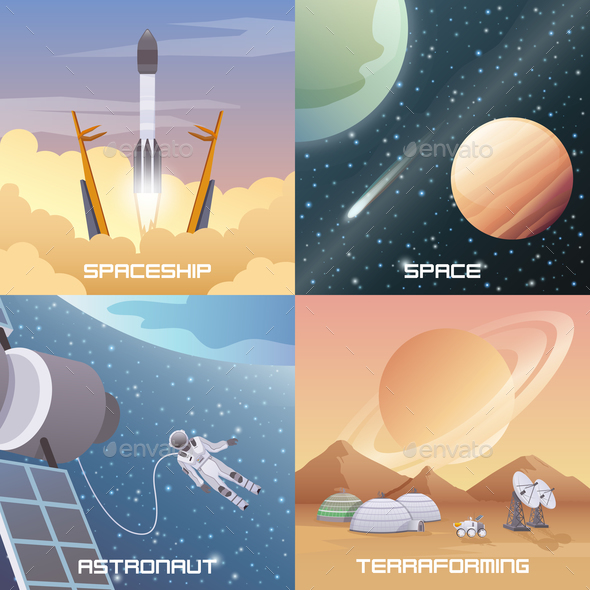 GraphicRiver Space Exploration 2x2 Flat Design Concept 20594432