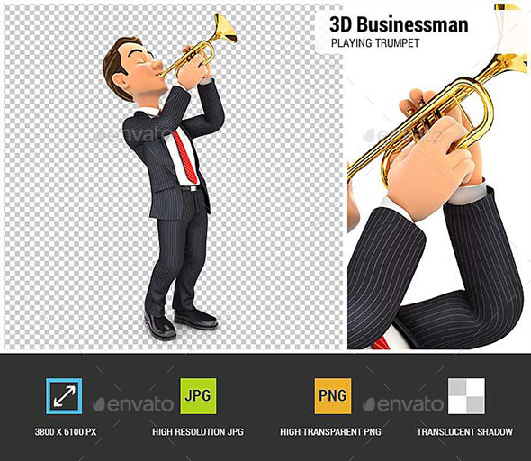 3D Businessman Playing Trumpet - Characters 3D Renders