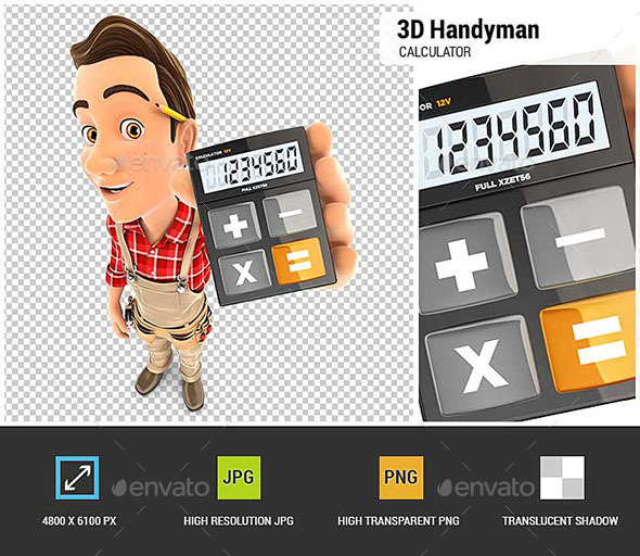 3D Handyman Holding Calculator - Characters 3D Renders