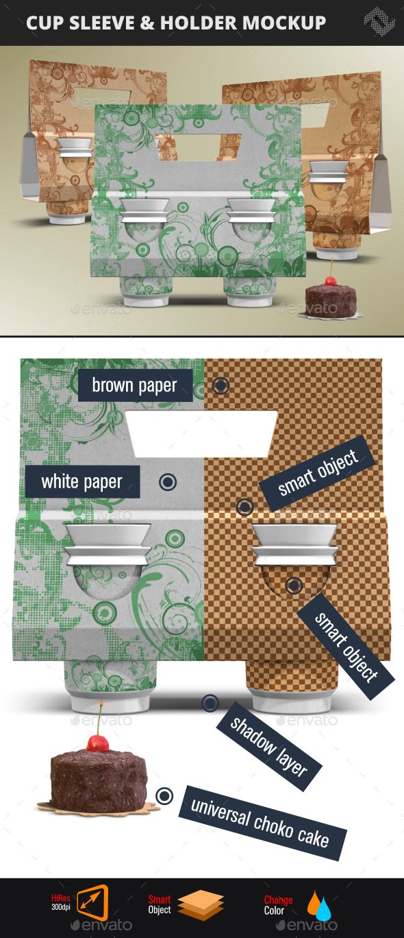 GraphicRiver Recycled Paper Cup Sleeve Holder Mockup 20594467