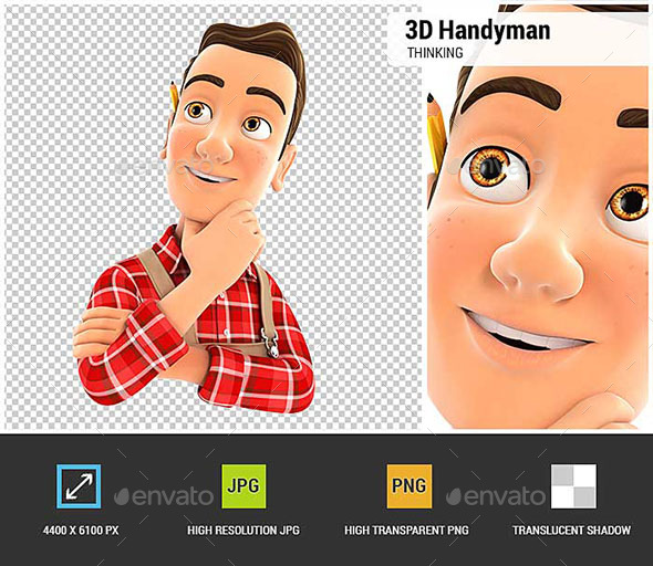 3D Handyman Thinking - Characters 3D Renders