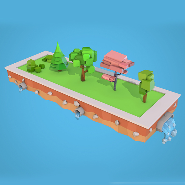 3DOcean Low Poly Trees Bushs Pack 20594489