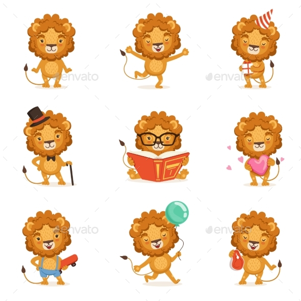 Lion Character Character Doing Different - Animals Characters
