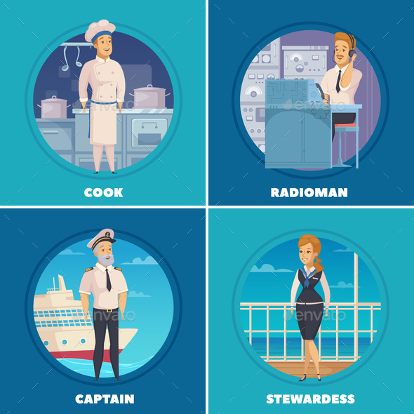 Ship Crew 4 Icons Square - People Characters