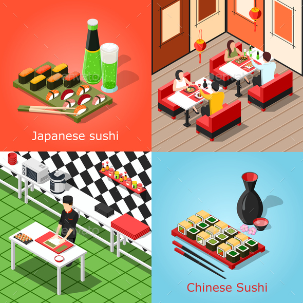 Isometric Sushi Bar Concept - Food Objects