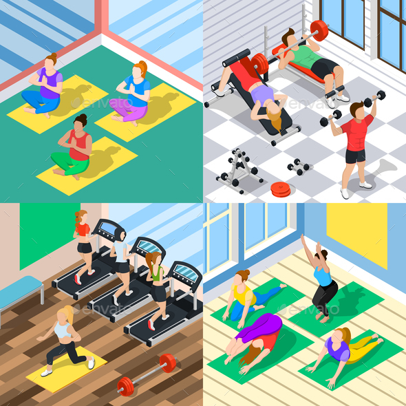 GraphicRiver Isometric Workout 2x2 Concept 20594648