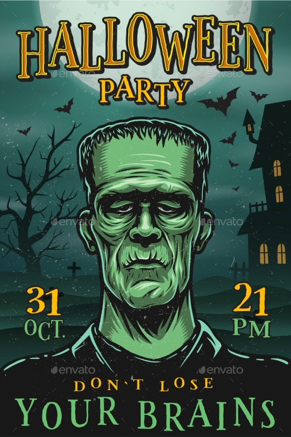 Halloween Party Poster with Monster - Halloween Seasons/Holidays