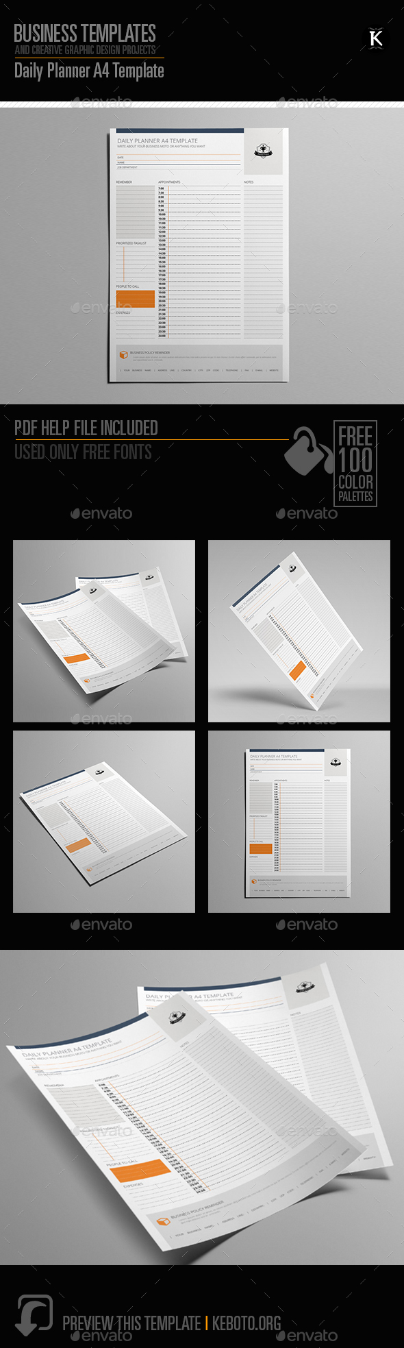 GraphicRiver Daily Planner US Letter Template 20595056