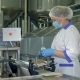 A Factory Operator in a Plastic Cap and a Mask Checks Cheese Packages - VideoHive Item for Sale