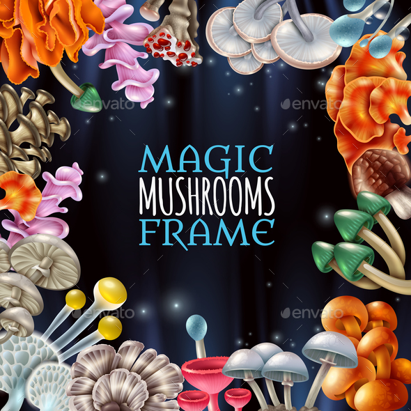 Magic Mushrooms Frame Background - Backgrounds Decorative