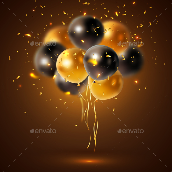 Shiny Holiday Balloons Composition - Miscellaneous Vectors