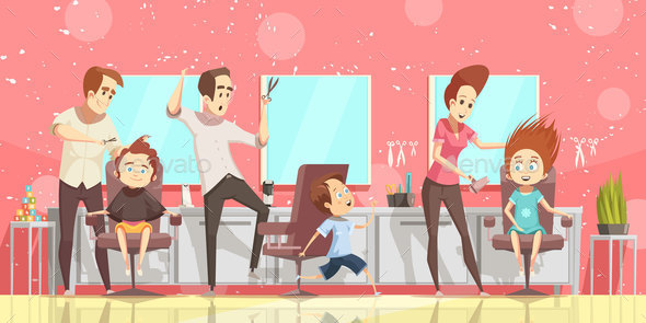 Hair Salon Background Illustration - People Characters