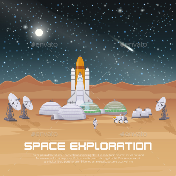 Space Exploration Flat Composition - Miscellaneous Vectors