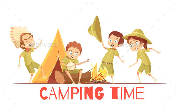 GraphicRiver Scouts Camping Retro Cartoon Poster 20595305