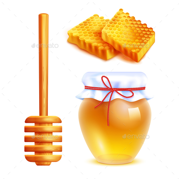 Honey Realistic Icons Set - Food Objects