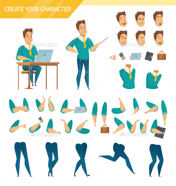GraphicRiver Office Worker Constructor Cartoon Set 20595312